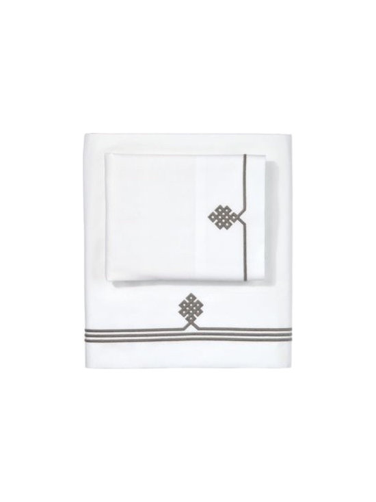 Serena & Lily - Pewter Gobi Embroidered Sheet Set - Our not-so-basic white sheets make a great foundation for layering color and pattern throughout the room think of them as classics with a twist. An ancient Buddhist motif, representing the endless knot of wisdom, is embroidered in Pewter on the flat sheet and cases.