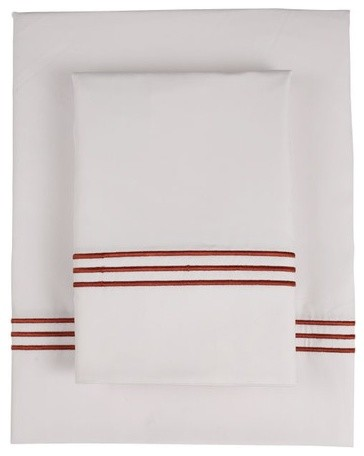 Baratto Piping 300 Thread Count Bamboo Sheet Set in Copper modern-sheet-and-pillowcase-sets