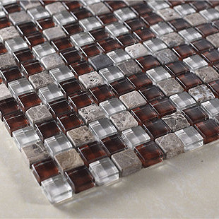 Wine red white small grain crystal stone glass mosaic r212 bar modern-wall-and-floor-tile