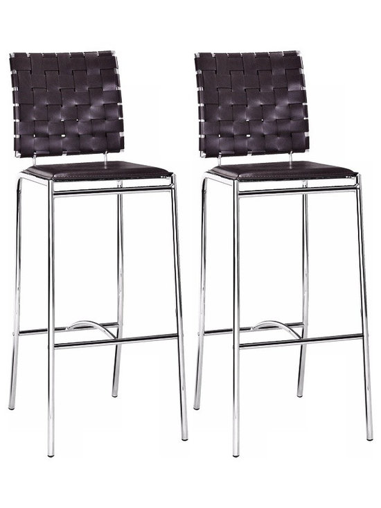 "Zuo - Zuo Espresso Leatherette Weave Set of 2 29"" High Bar Stools - These Zuo bar stools are a long-legged beauties with a special leatherette weave patterned back. The criss-cross weave pattern is complemented by a flat solid seat and slender chrome frame. A chic barstool addition to a kitchen or bar area. Espresso leatherette constructed seat. Chrome steel frame. Barstool height seat. Set of two. 41"" high. 15"" wide. 29"" from seat to floor.  Set of 2.  Espresso leatherette constructed seat.  Chrome steel frame.  Barstool height seat.  41"" high.  15"" wide.  29"" from seat to floor."