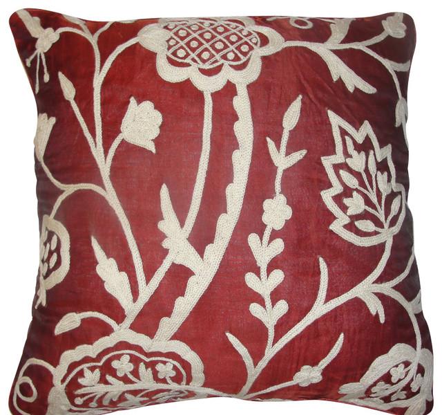 Lotus Deep Red Silk Organza Pillow, 20 by 20 craftsman-bed-pillows