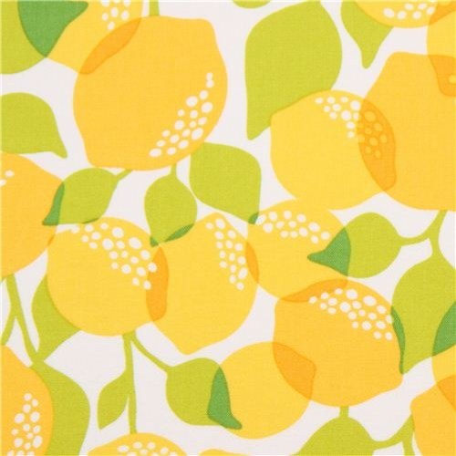 White Michael Miller Fabric With Yellow Lemons Fabric