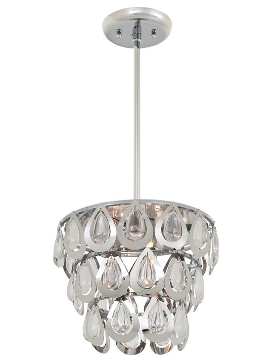 DVI Lighting - Bliss Pendant - Bliss Pendant features Crystals with a Chrome finish. Available in small and large sizes. Three 75 watt, 120 volt JCD type G9 base halogen bulbs are required, but not included. Small: 9 inch width x 8 inch height x 46 inch length. Large: 11 inch width x 9 inch height x 47.25 inch length.