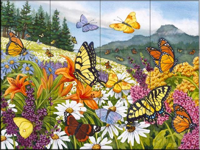 Tile mural butterfly meadow nw kitchen backsplash for Butterfly mural ideas