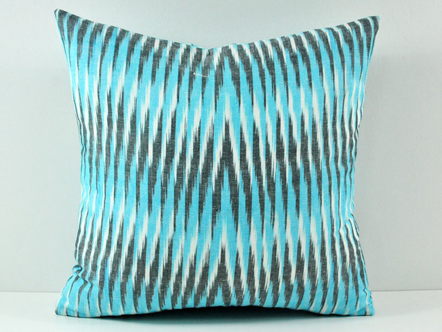 turquoise ikat pillow 100 cotton contemporary