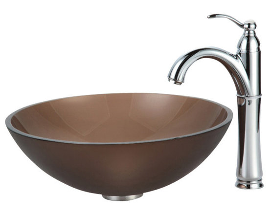 Kraus - Kraus C-GV-103FR-12mm-1005CH Frosted Brown Glass Vessel Sink and Riviera Faucet - Add a touch of elegance to your bathroom with a glass sink combo from Kraus