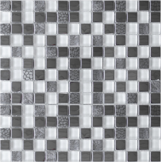 Eden Mosaic Tile Square Mixed Steel Tile With White Glass And Textured Metal Contemporary