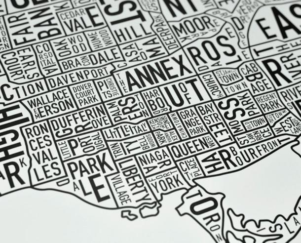 Black & White Toronto Neighborhood Poster modern-prints-and-posters