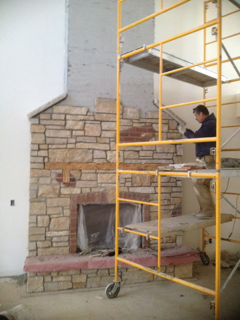 Indoor Fireplace From Thin Stone Veneer Chicago By Adv