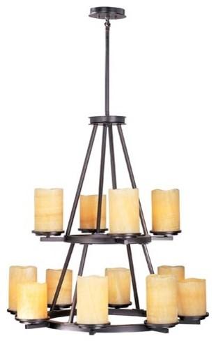 Rustic Ebony Luminous Twelve-Light Round Chandelier contemporary-chandeliers