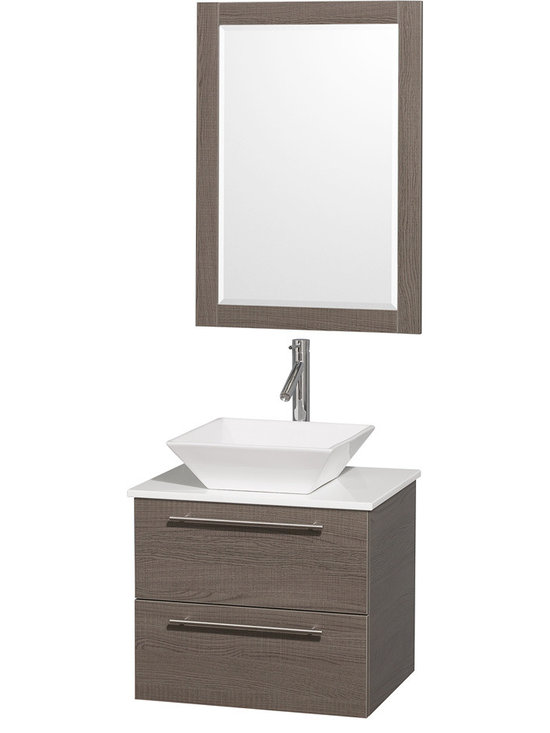"""Wyndham Collection - Wyndham Collection 24"""" Amare Grey Oak Vanity Set w/ White Man-Made Stone Top - Modern clean lines and a truly elegant design aesthetic meet affordability in the Wyndham Collection Amare Vanity. Available with green glass or pure white man-made stone counters, and featuring soft close door hinges and drawer glides, you'll never hear a noisy door again! Meticulously finished with brushed Chrome hardware, the attention to detail on this elegant contemporary vanity is unrivalled."""