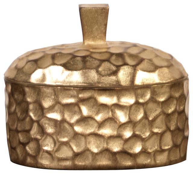 Howard Elliott Hammered Gold Decorative Box modern-decorative-boxes