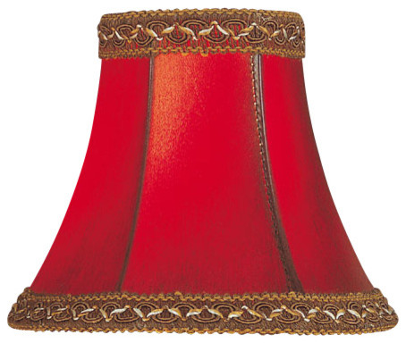 Candelabra Shade/Red Faux Leather Bell - 3in.Tx6in.Bx5in.Sl traditional-lamp-shades