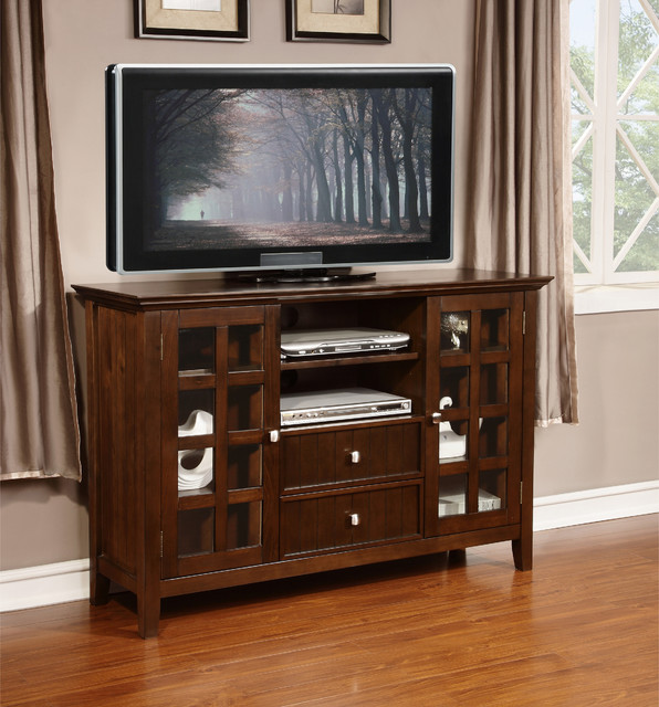 Normandy Collection Tobacco Brown Tall TV Media Stand - Contemporary - Entertainment Centers And ...