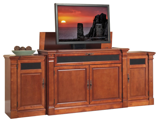 Adonzo Distressed Cherry TV Lift Cabinet with side ...
