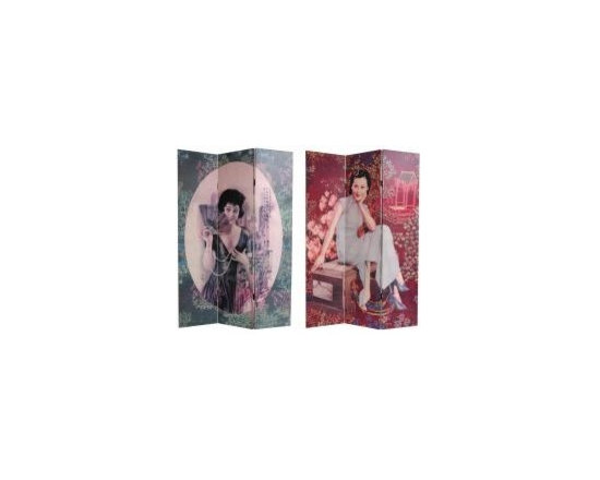 Functional Art/Photography Printed on a 6ft Folding Screen - 6ft three panel folding screen divider. Reproductions of graphic art designs from pre war Hong Kong, renderings of photo like images of young Chinese women in colonial period dress, photographed with turn of the century Shanghai Tang silk embroidery borders.