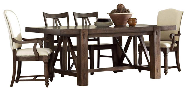 Riverside Furniture Castlewood 5 Piece Dining Table Set in Warm Tobacco transitional-dining-sets