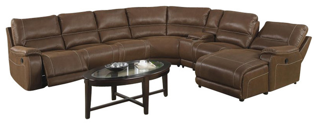 Coaster loukas extra long reclining sectional sofa w for Loukas leather reclining sectional sofa with reclining chaise