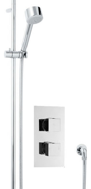 Twin Concealed Thermostatic Shower Valve & Slider Rail Kit & Handset contemporary-showerheads-and-body-sprays