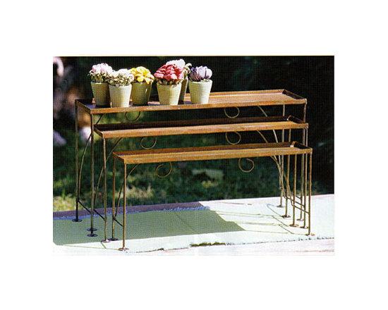 Set of Three Small Metal Nesting Shelves -