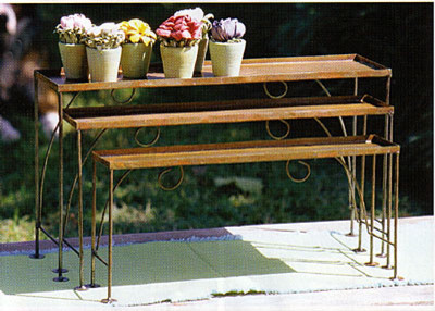 Set of Three Small Metal Nesting Shelves traditional-outdoor-pots-and-planters