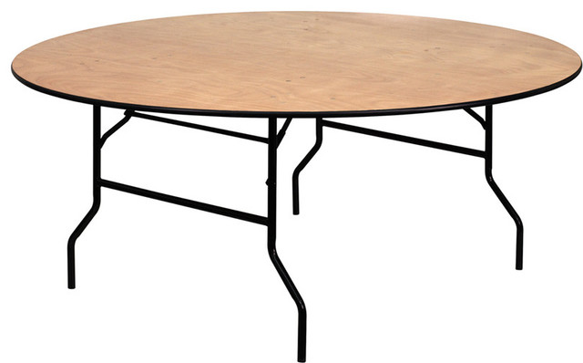 72 39 39 round wood folding banquet table with clear coated