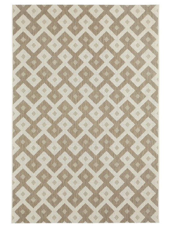 """Finesse Diamond rug in Barley - An esteemed """"Capel Anywhere"""" rug collection woven on precision machine looms in Europe. These versatile rugs can be used in high traffic areas indoors - like kitchens and sunrooms - or to dress up covered porches and decks outside."""