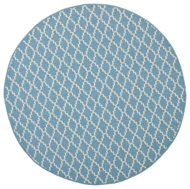 "Indoor Outdoor Courtyard Round 5 3"" Round Blue Beige"