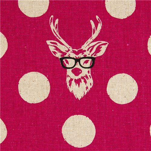 Echino Laminate Fabric Buck Stag Deer With Glasses Pink