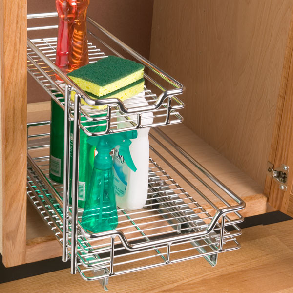 Chrome 2-Tier Sliding Organizer contemporary cabinet and drawer organizers