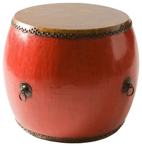 Old Drum Medium, Red asian-side-tables-and-end-tables