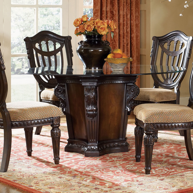 Grand Estates Round Pedestal Glass Table dining-tables