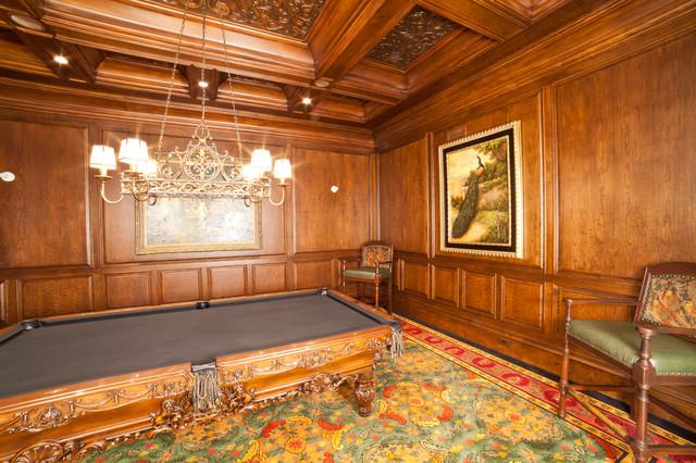 Full Paneled Billiard Room traditional-family-room