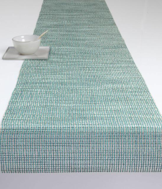 Chilewich Lattice Runner, Aqua contemporary-tablecloths