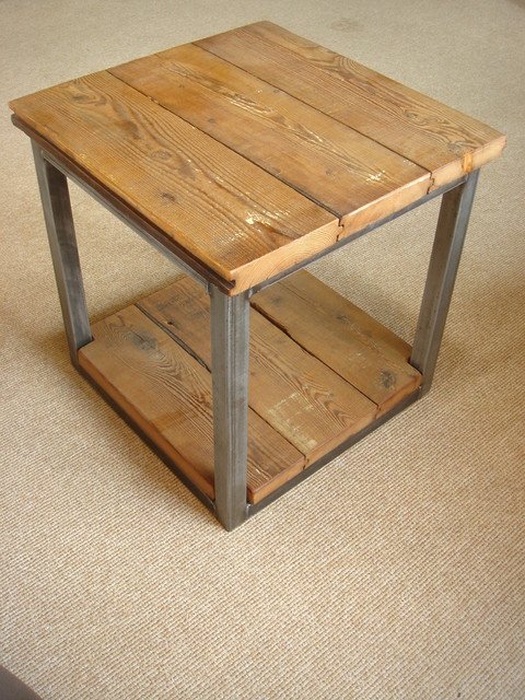 Reclaimed Wood and Steel Side Table industrial-side-tables-and-end-tables