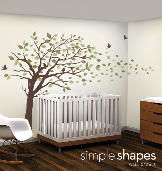 Elegant Style Blowing Leaves Tree Decal for Baby Nursery or Home