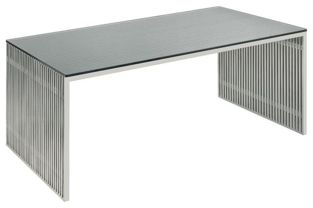 Amici Desk Stainless Steel and Glass by Nuevo - HGDJ197 modern-desks ...
