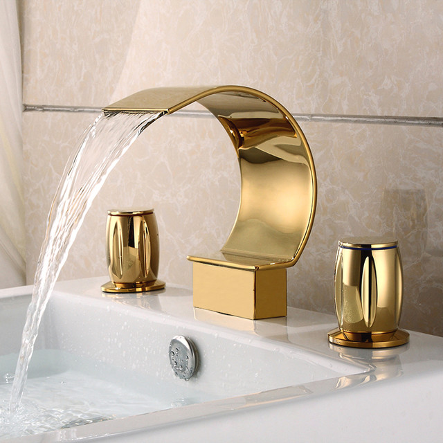 widespread sink faucet shiny gold contemporary bathroom faucets