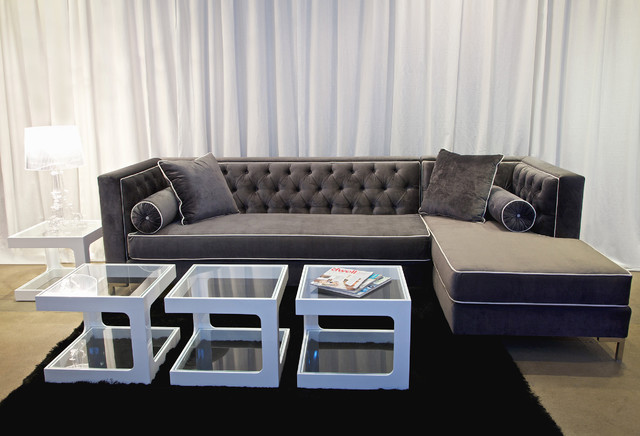 Decenni Custom Furniture 39 Tobias 39 Grey Sectional Contemporary Sectional Sofas By