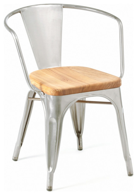 Marais Armchair Wood Seat Galvanized Industrial Outdoor Dining Chairs