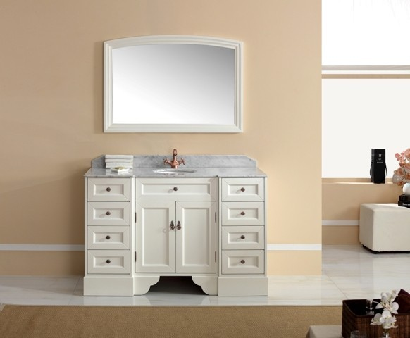 Traditional Vanities - Pavia Freestanding Single Basin White Vanity traditional-bathroom-vanities-and-sink-consoles