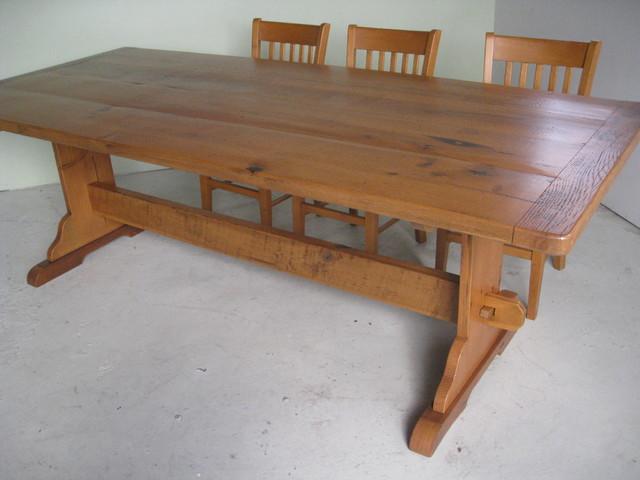 Reclaimed Wood Table With Hybrid Trestle Farmhouse