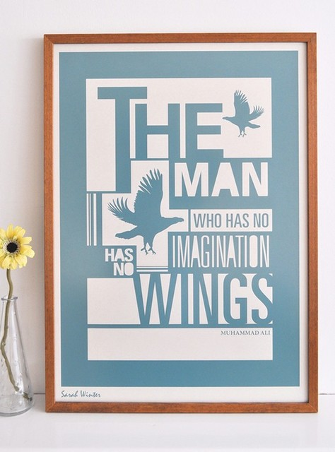 Muhammad Ali A2 Typographic Screenprint by Sarah Winter modern-artwork