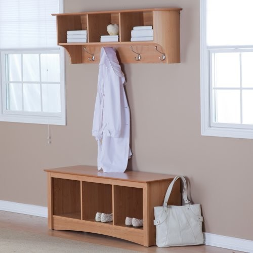 Prepac Sonoma Maple Triple Cubby Bench & Coat Rack Set - Traditional ...