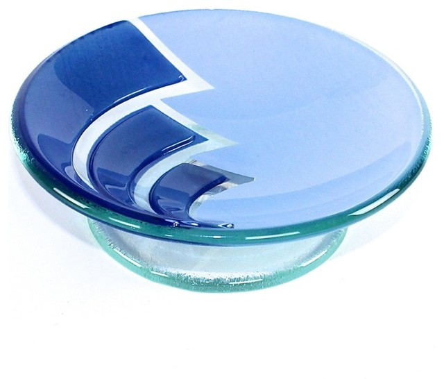 Round Blue Glass/Aluminum Soap Holder - Contemporary - Soap Dishes & Holders - by TheBathOutlet