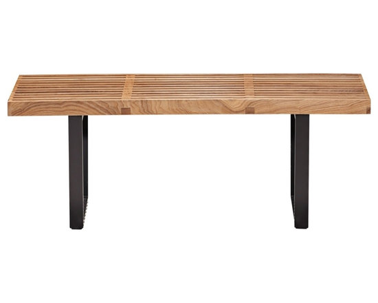 "Zuo - Zuo Heywood Single Natural Wood Bench - The Heywood Collection has a classic look with minimal styling that is perfect for blending well in a variety of decor styles. The slated wood top of this single natural wood bench is beautiful in its simplicity and remains practical in function. Design by Zuo Modern. Wood bench top. Natural wood finish. 48"" wide. 15"" deep. 14"" high.  Wood bench top.   Natural wood finish.   48"" wide.   15"" deep.   14"" high."