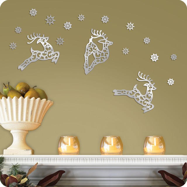 Mirrored Reindeer and Snowflake Wall Decals contemporary-wall-decals