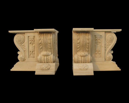 """BLOSS STONEWORKS CO. - Hand Carved Creme Marble, Triple Table Pedestal Base featuring Large Acanthus """" S """" shaped Corbels. Richly characteristic of Old- World details,  BLOSS STONEWORKS CO. Inc."""