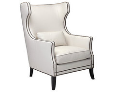 White Eddie Accent Chair, White transitional-armchairs