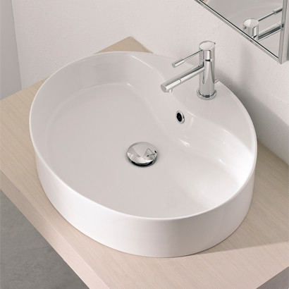 Sleek Oval Shaped White Ceramic Vessel Sink by Scarabeo contemporary-bathroom-sinks